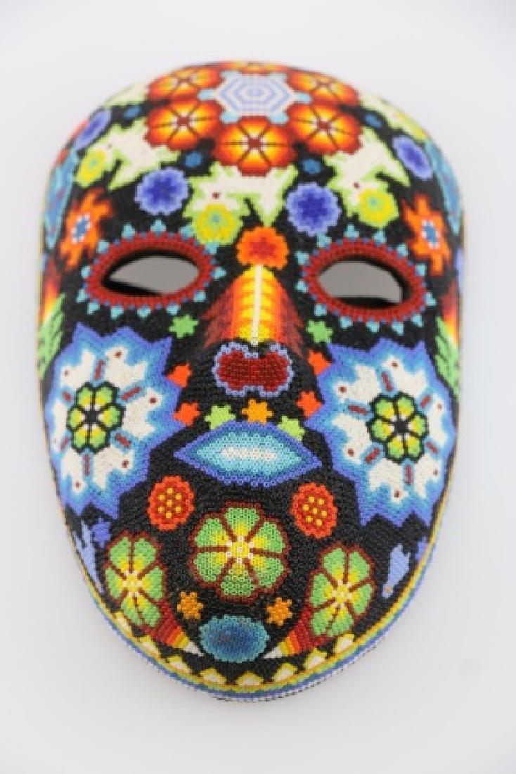 PEYOTE FLOWER-MEXICO HUICHOL BEAD MASK ART - 2