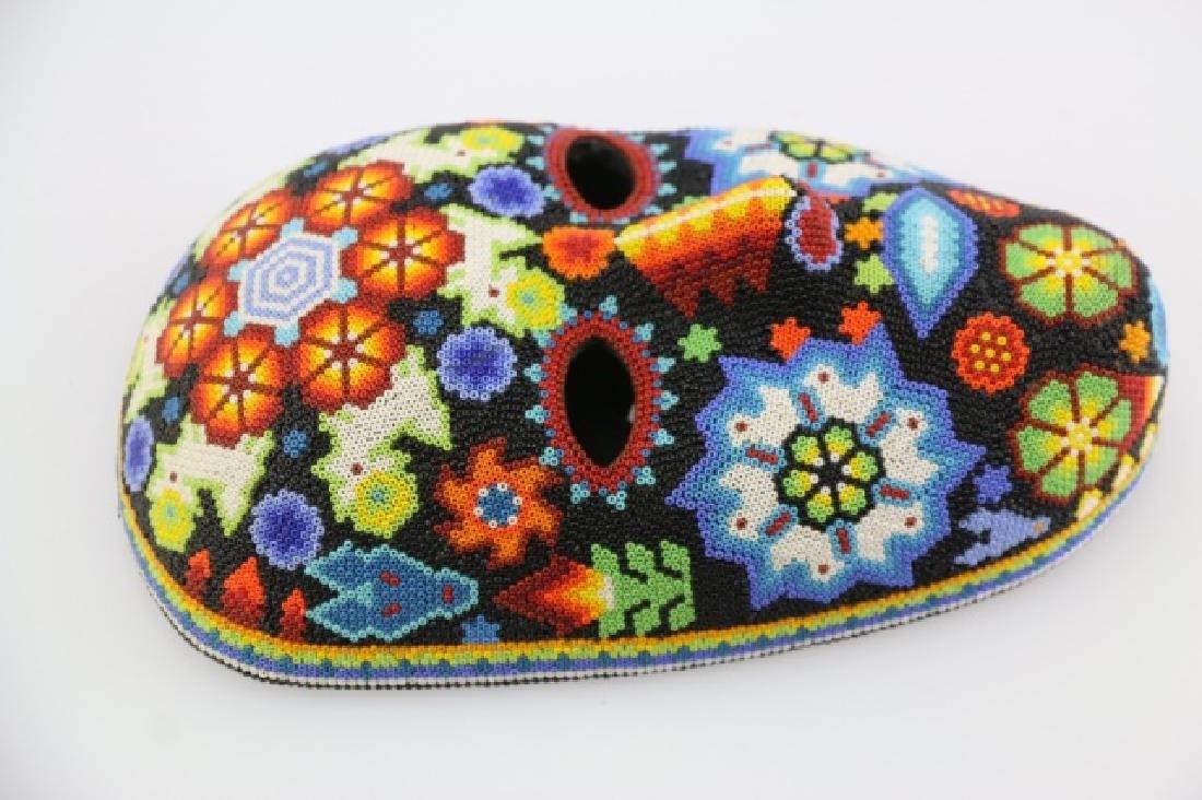 PEYOTE FLOWER-MEXICO HUICHOL BEAD MASK ART - 3