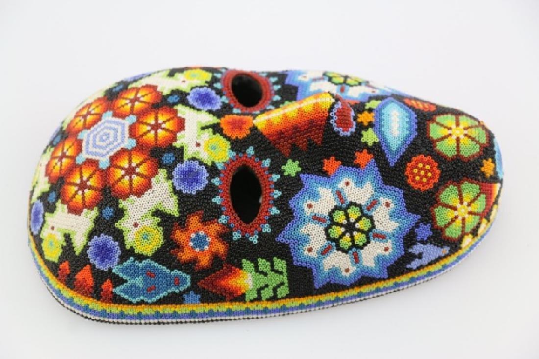 PEYOTE FLOWER-MEXICO HUICHOL BEAD MASK ART - 4