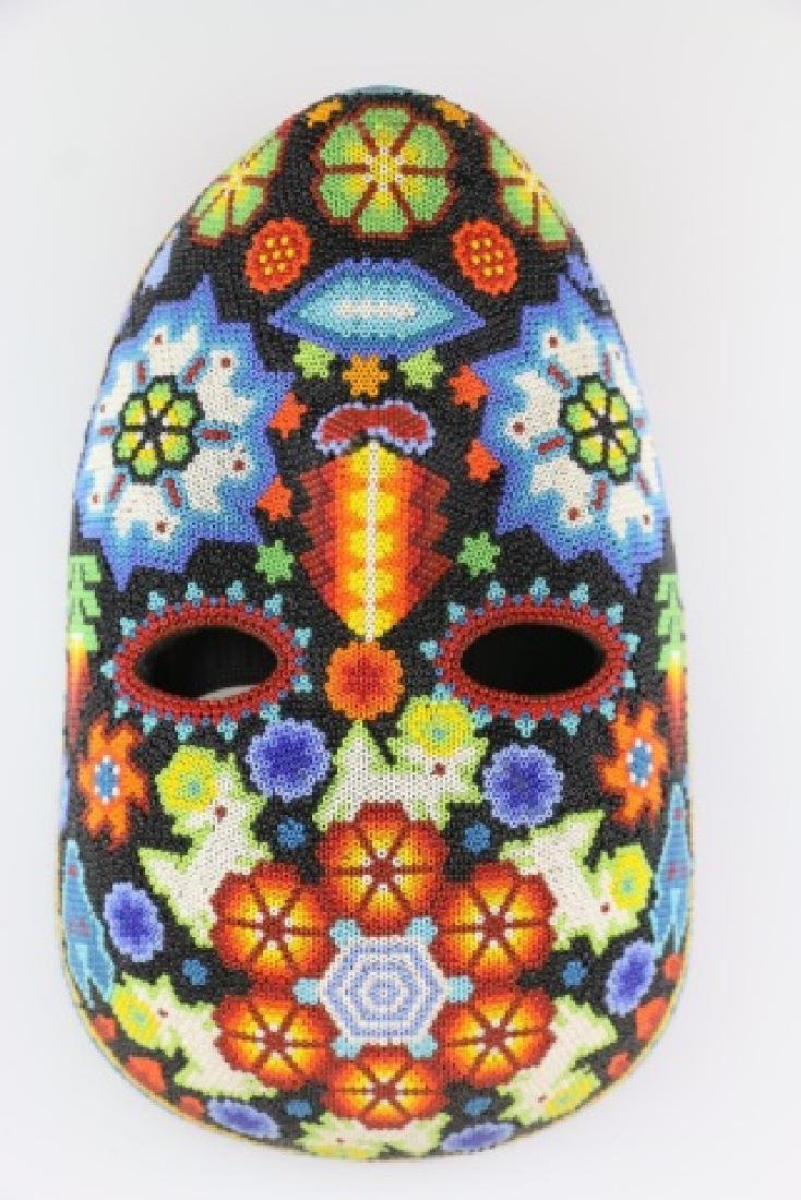 PEYOTE FLOWER-MEXICO HUICHOL BEAD MASK ART - 7