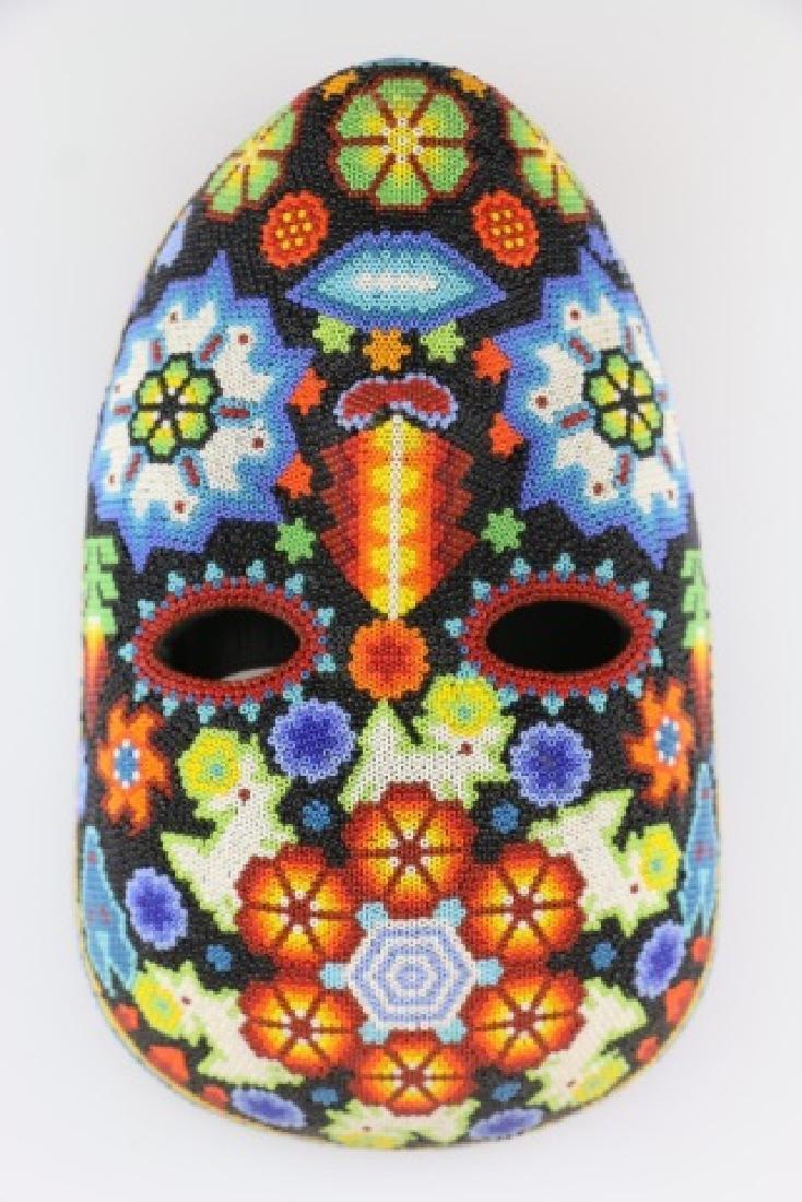 PEYOTE FLOWER-MEXICO HUICHOL BEAD MASK ART - 8