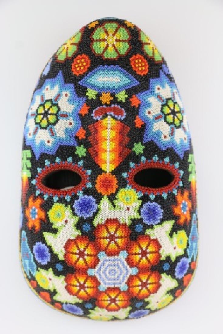 PEYOTE FLOWER-MEXICO HUICHOL BEAD MASK ART - 9