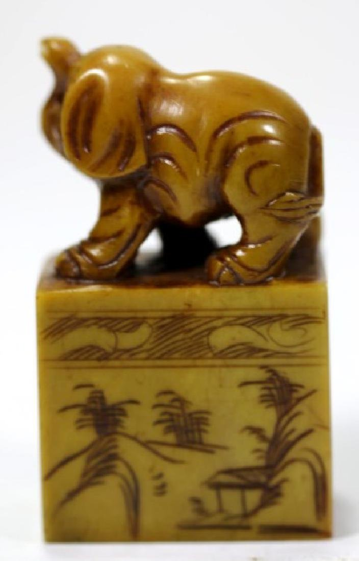 CHINESE ANTIQUE AGATE CARVED SEAL CHOP - 4