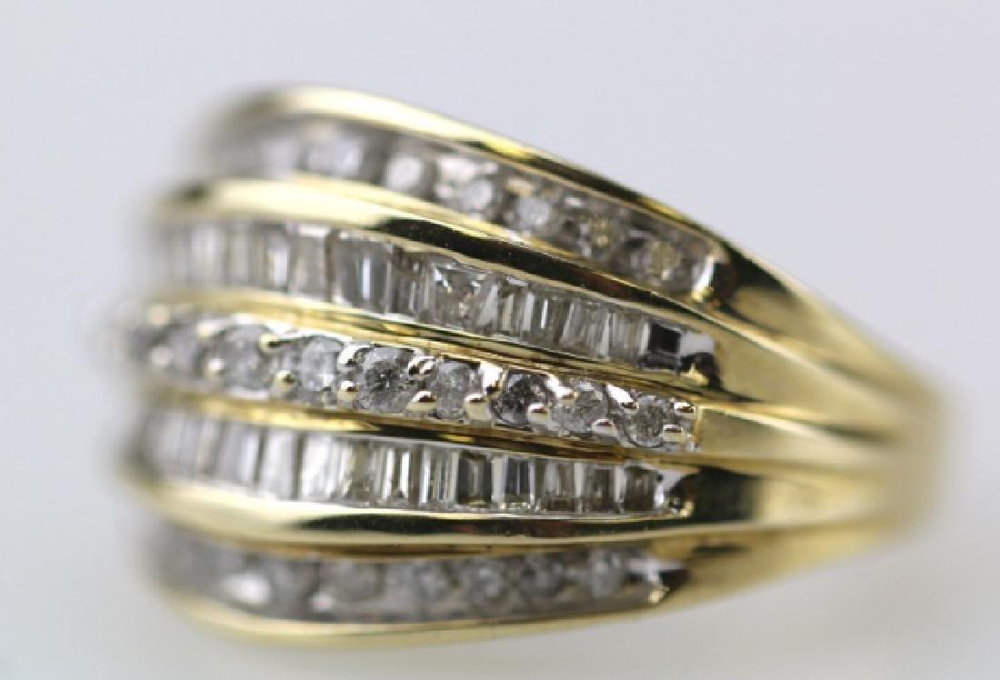 FIVE-ROW DIAMOND LADIES RING IN 10KYG