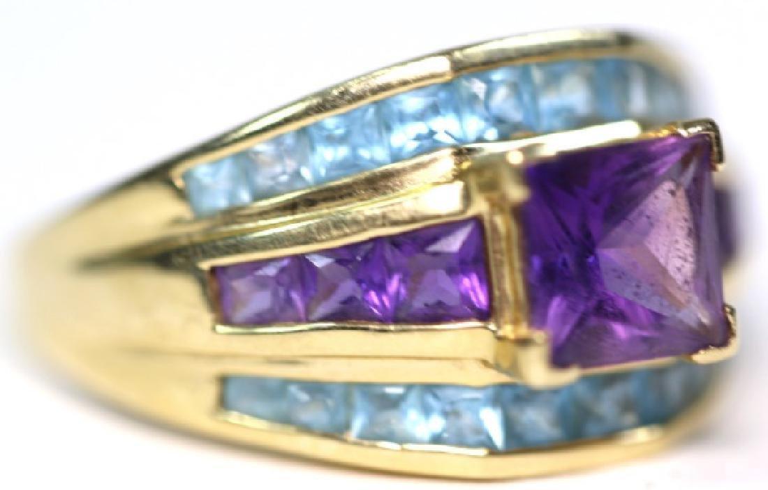 14KYG BLUE TOPAZ & AMETHYST MODERN CUSTOM RING