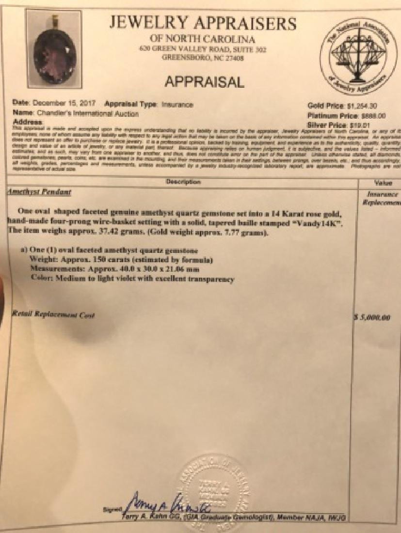 150 CARAT AMYETHYST PENDANT SET IN 14K ROSE GOLD - 3