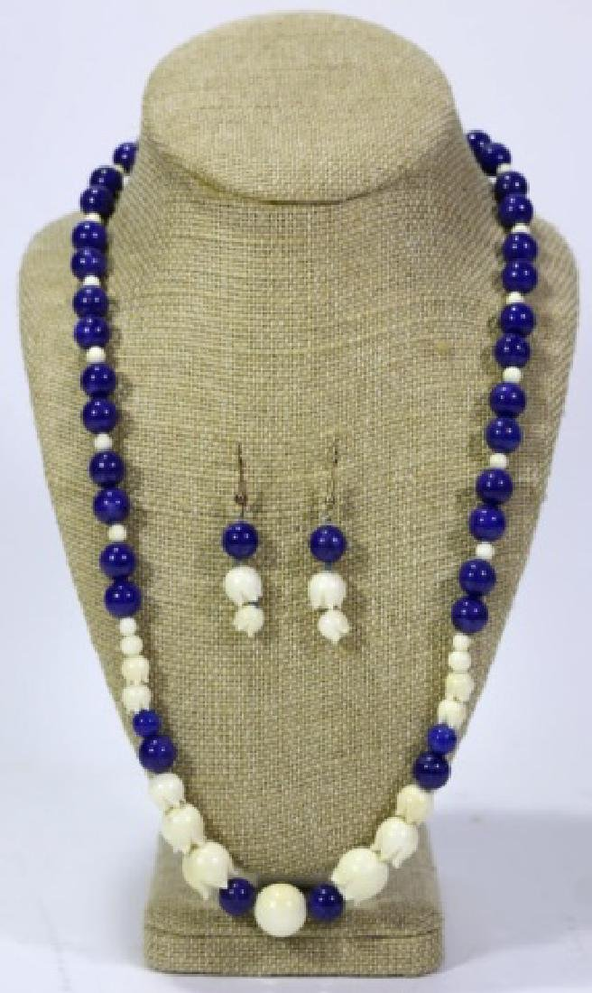 CHINESE LAPIS LAZULI & HAND CARVED BEADED NECKLACE