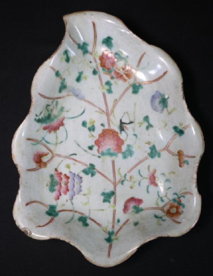 CHINESE ANTIQUE LARGE LEAF FORM PORCELAIN TRAY