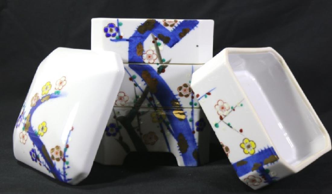 JAPANESE PORCELAIN STACKING BOX SET - 5