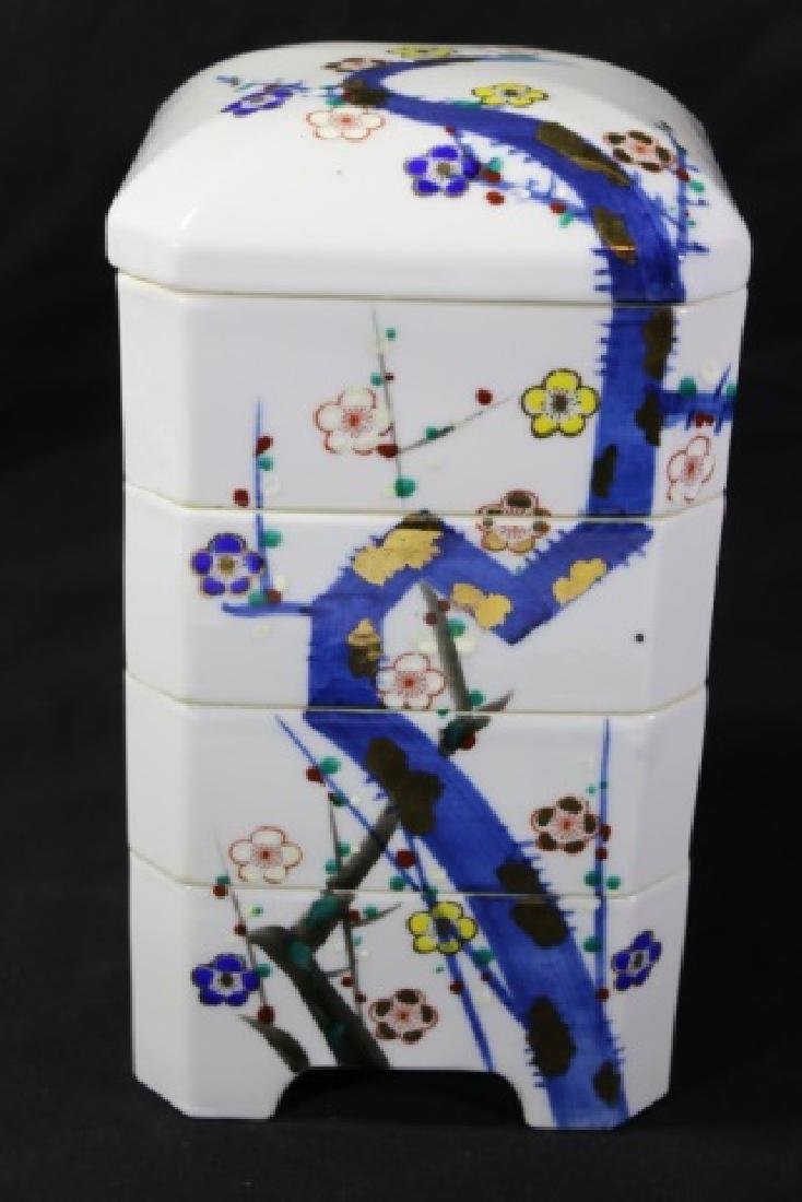 JAPANESE PORCELAIN STACKING BOX SET - 6