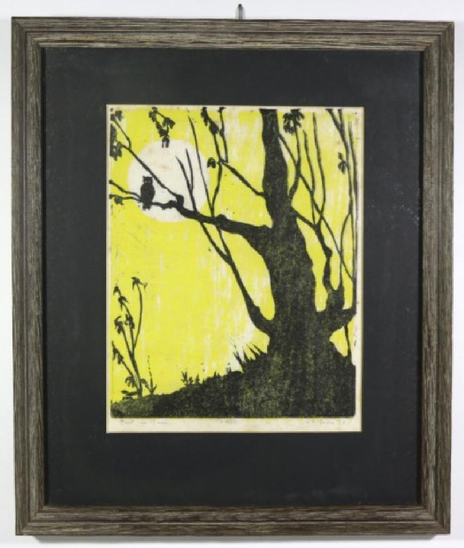 "MID CENTURY ""OWL IN TREE"" WOOD CUT 4/50"