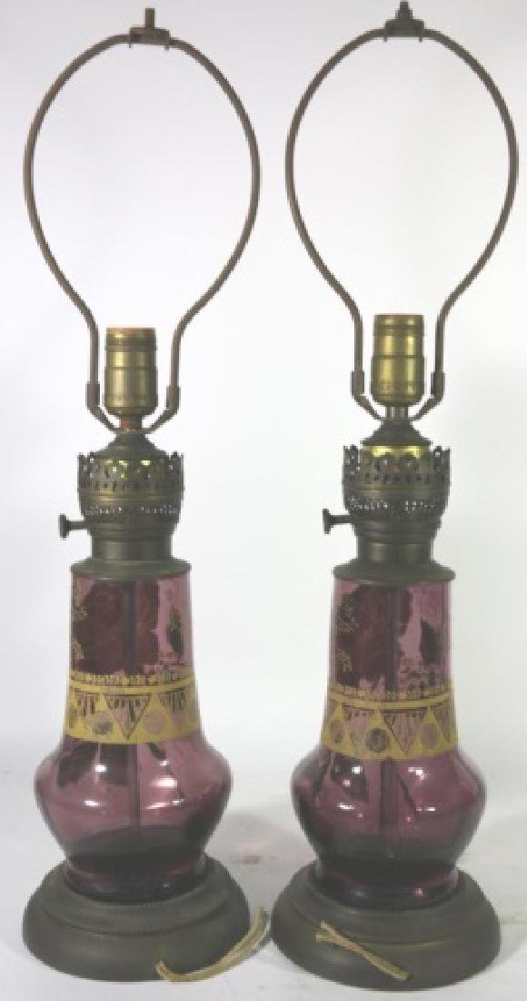 ART DECO ERA   AMETHYST PARCEL GILT GLASS  LAMPS