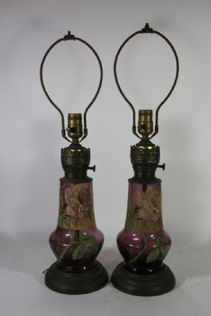 ART DECO ERA   AMETHYST PARCEL GILT GLASS  LAMPS - 6