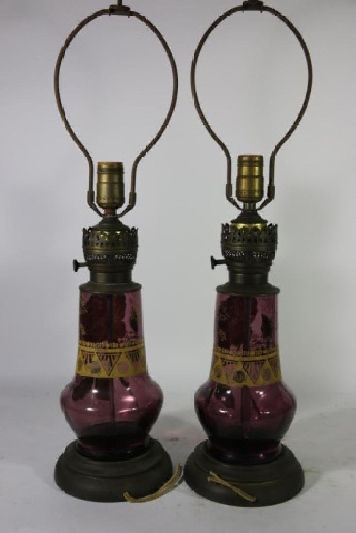 ART DECO ERA   AMETHYST PARCEL GILT GLASS  LAMPS - 9