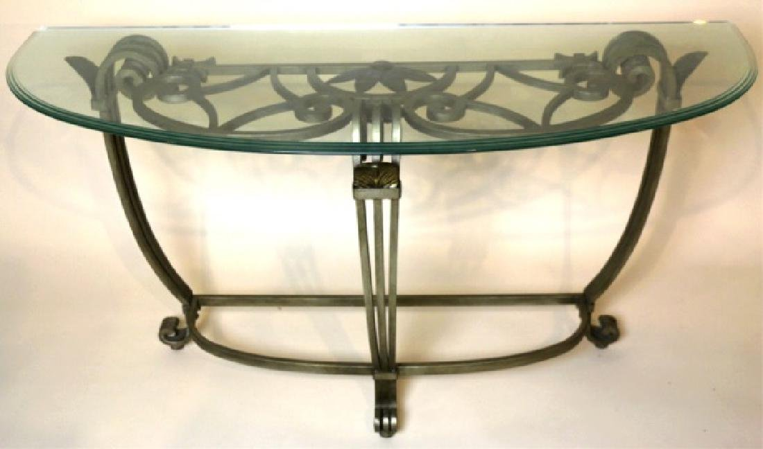LABARGE / MAITLAND SMITH MODERN IRON & GLASS TABLE