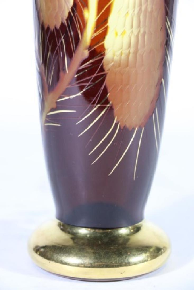 AMBER & PARCEL GILT PINE COMB MOTIF ARTGLASS VASE - 6