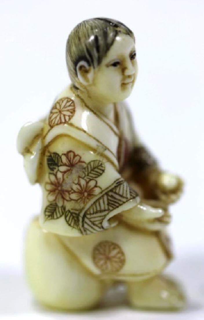 JAPANESE SIGNED ANTIQUE CARVED NETSUKE