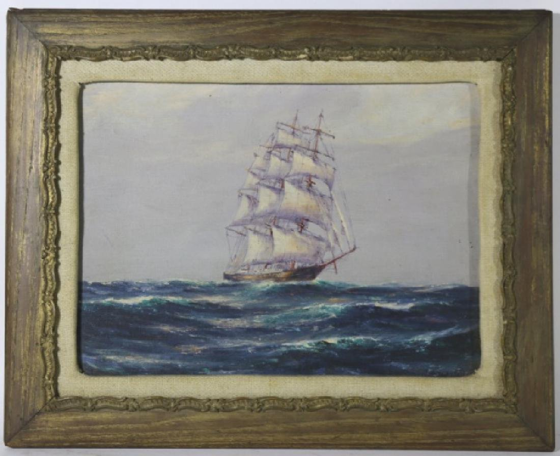 OIL ON BOARD OF SAILING SHIP, SIGNED