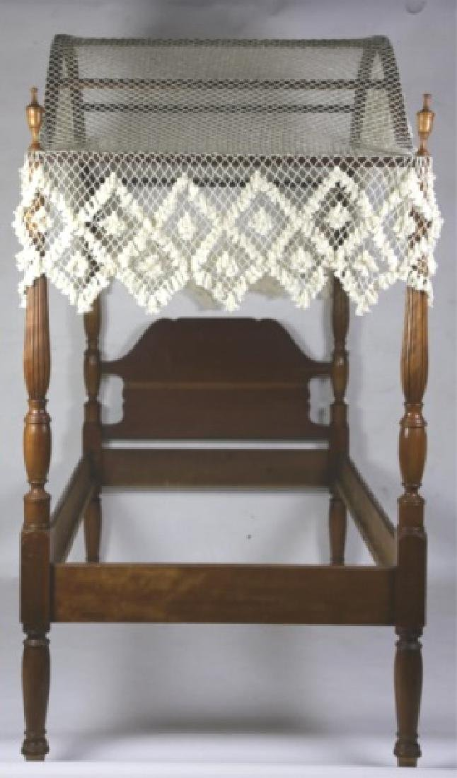 SOUTHERN WALNUT HAND FLUTED SINGLE POSTER BED