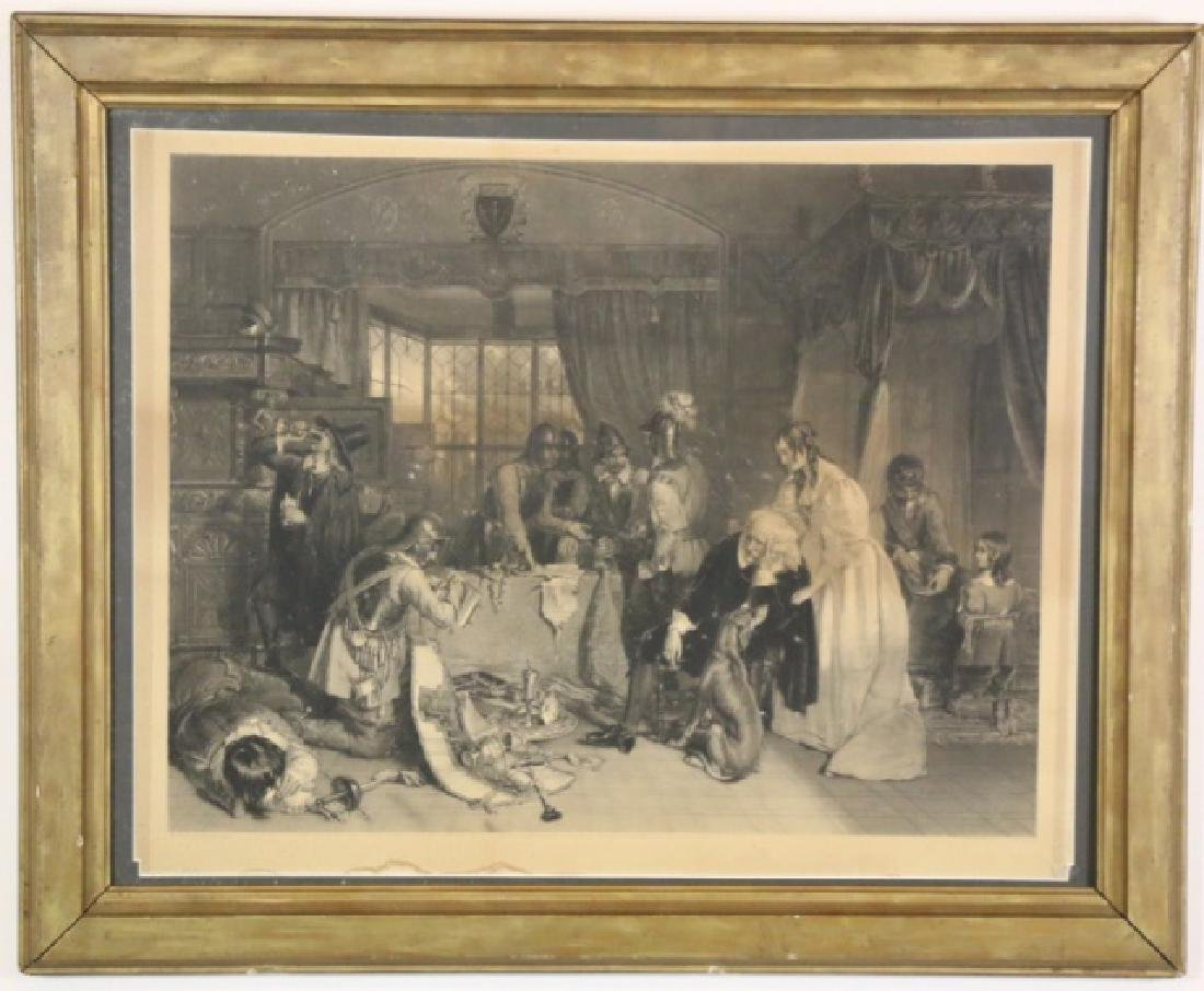1840 STEEL ENGRAVING OF KNIGHTS PILLAGING A HOME
