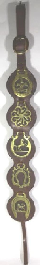 EQUESTRIAN BRASS MEDALLIONS ON LEATHER STRAP - 5