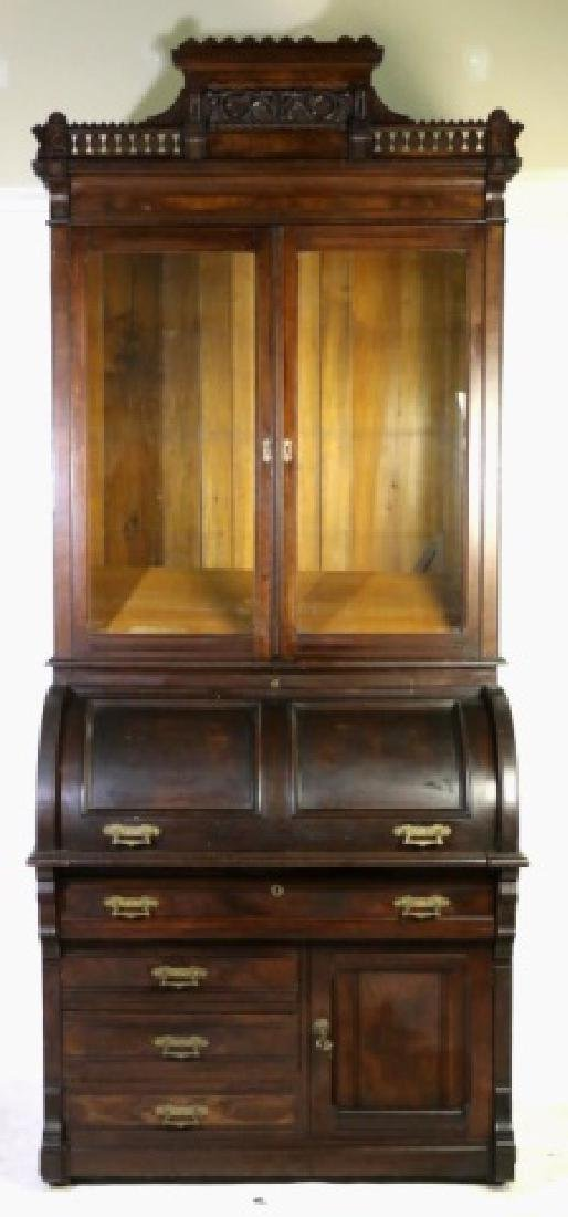 AMERICAN VICTORIAN EASTLAKE CYLINDER SECRETAIRE