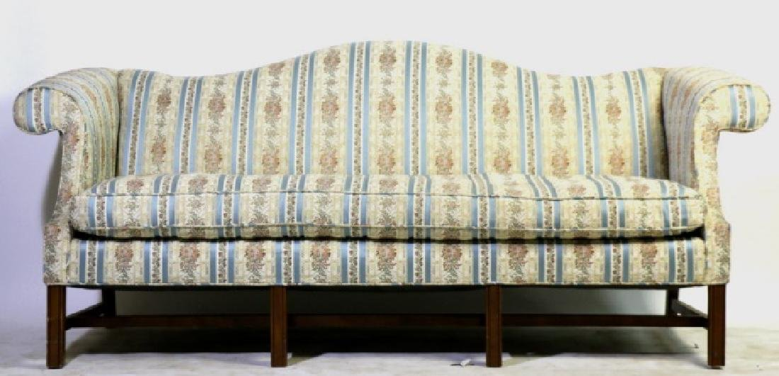 ANTIQUE CHIPPENDALE DOWN CUSHION CAMEL BACK SOFA
