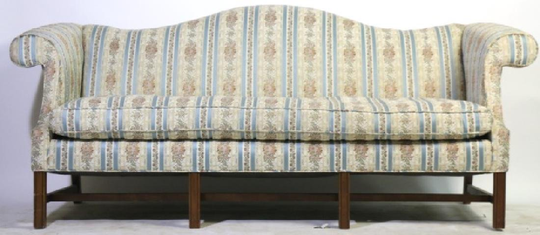 ANTIQUE CHIPPENDALE DOWN CUSHION CAMEL BACK SOFA - 4
