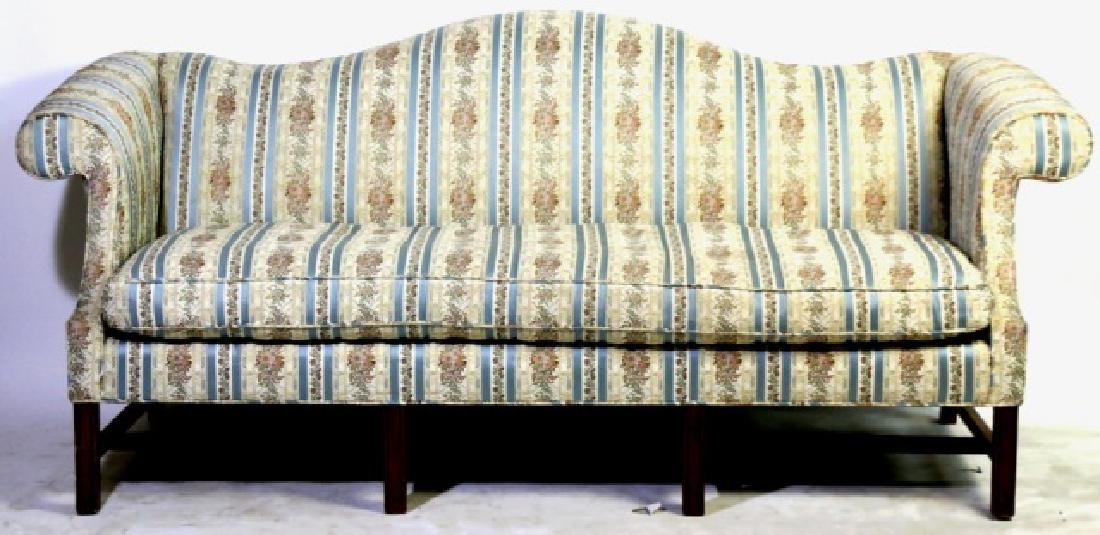 ANTIQUE CHIPPENDALE DOWN CUSHION CAMEL BACK SOFA - 8
