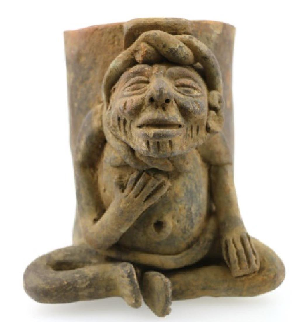PRE-COLUMBIAN MAYA EFFIGY VESSEL MUSHROOM GUARDIAN