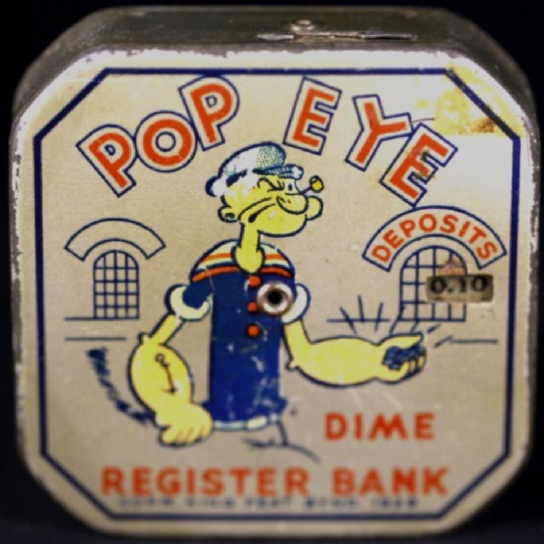 POP EYE VINTAGE METAL DIME BANK REGISTER