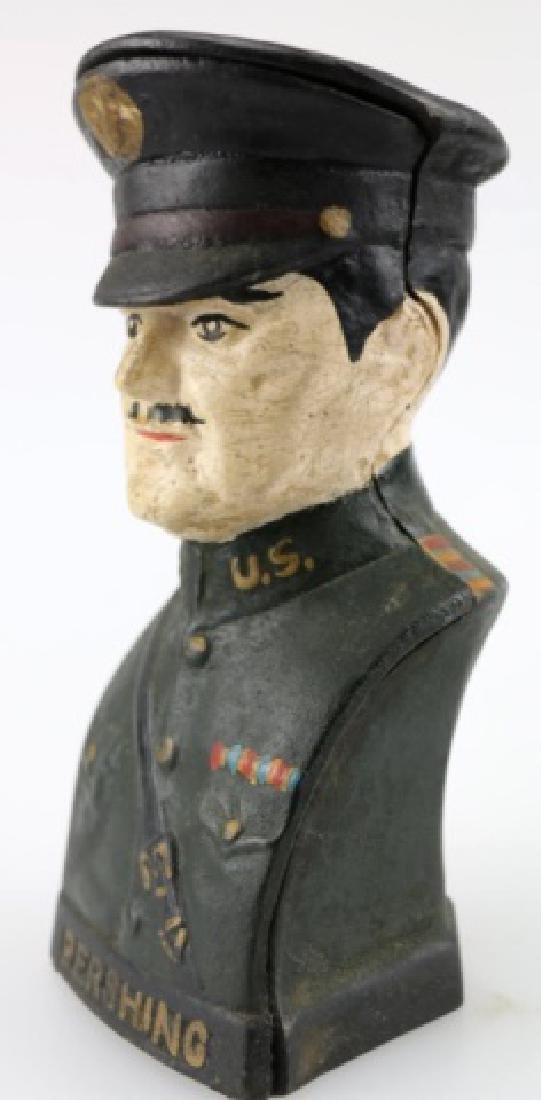 U.S. PERSHING VINTAGE CAST IRON BUST BANK