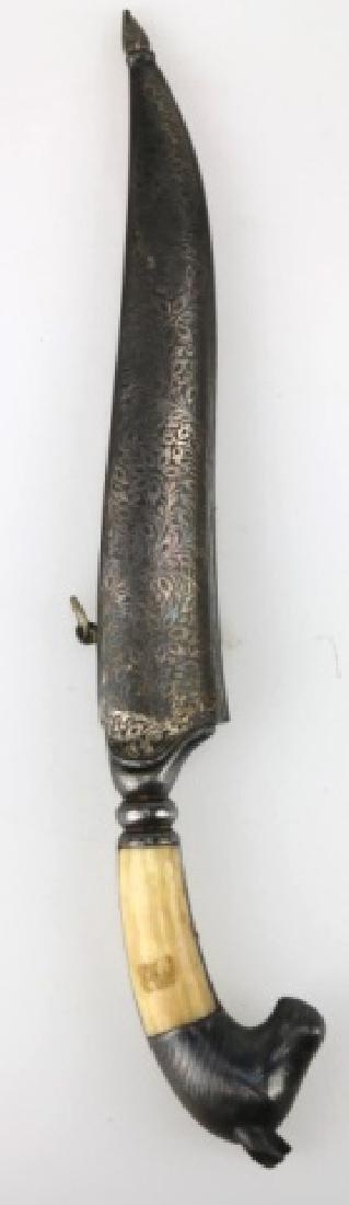 PERISAN BONE HANDLED HAND MADE DAGGER W/ SHEATH - 7