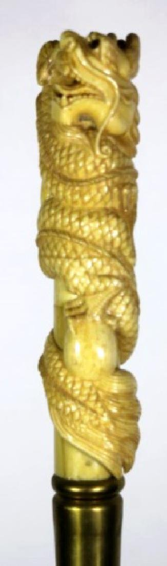 CHINESE ANTIQUE DRAGON HAND CARVED WALKING CANE