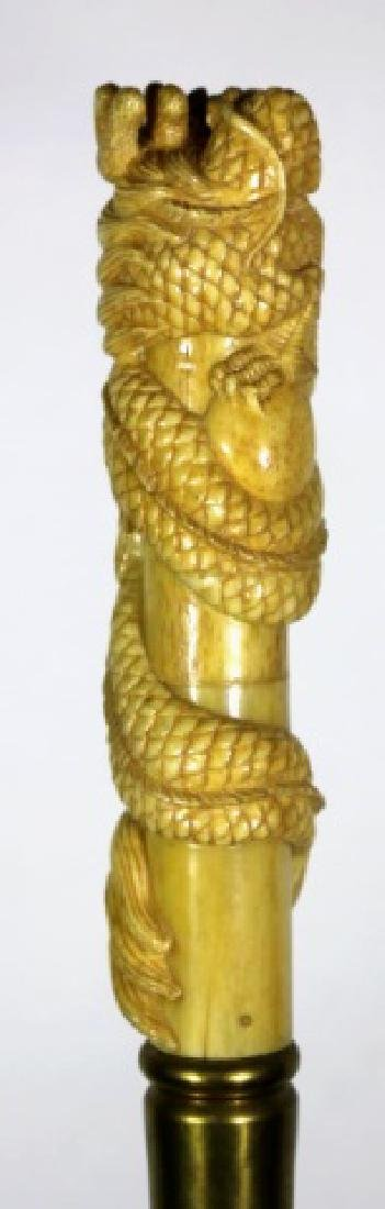 CHINESE ANTIQUE DRAGON HAND CARVED WALKING CANE - 5