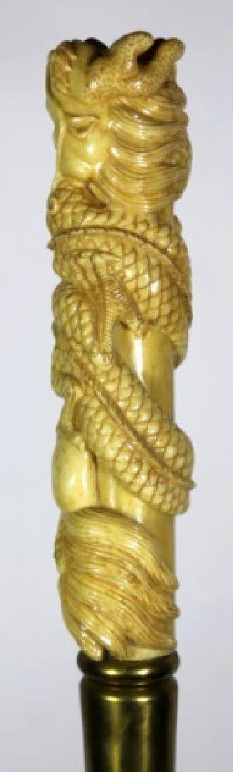 CHINESE ANTIQUE DRAGON HAND CARVED WALKING CANE - 6