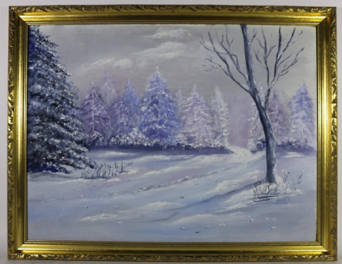 VARNER SIGNED WINTER SCENE OIL ON CANVAS