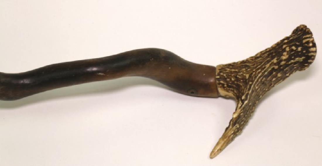 ANTIQUE FOLK ART / STAG HANDLE WALKING CANE - 5