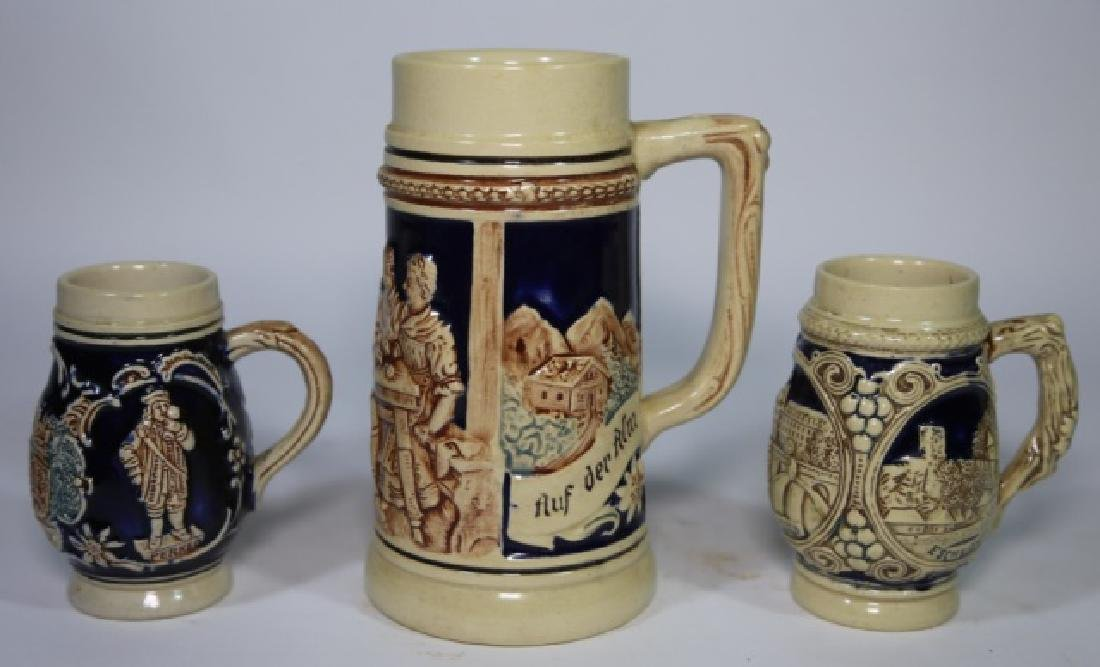 GERMAN VINTAGE SIGNED STEIN GROUPING OF THREE