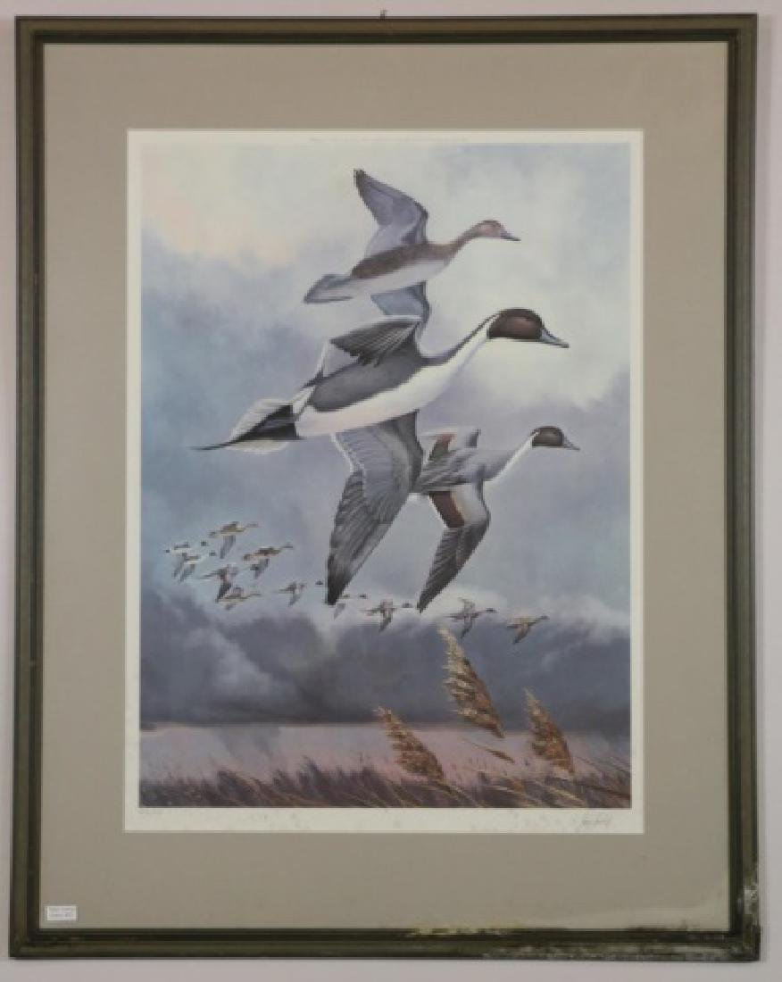 LARRY TORCHILL LITHORGRAPH OF MALLARDS IN FLIGHT