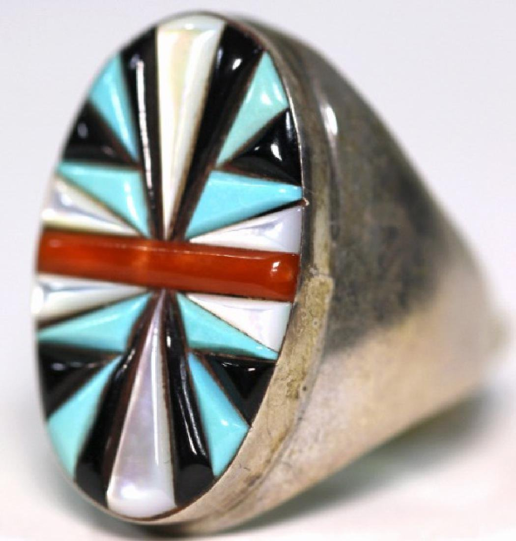NATIVE AMERICAN STERLING SILVER & INLAID RING