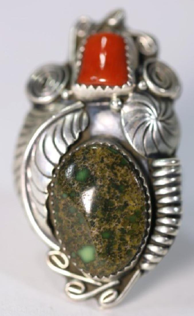 NATIVE AMERICAN STERLING AZURITE & CORAL RING