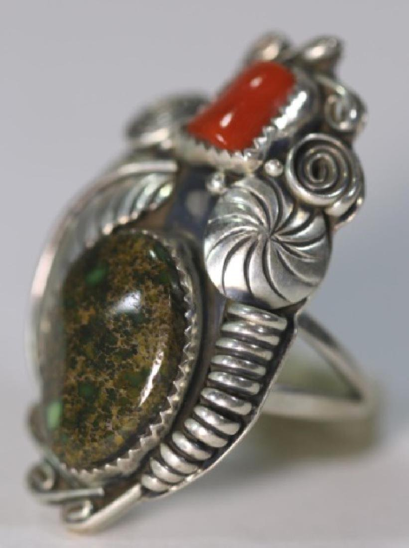 NATIVE AMERICAN STERLING AZURITE & CORAL RING - 2