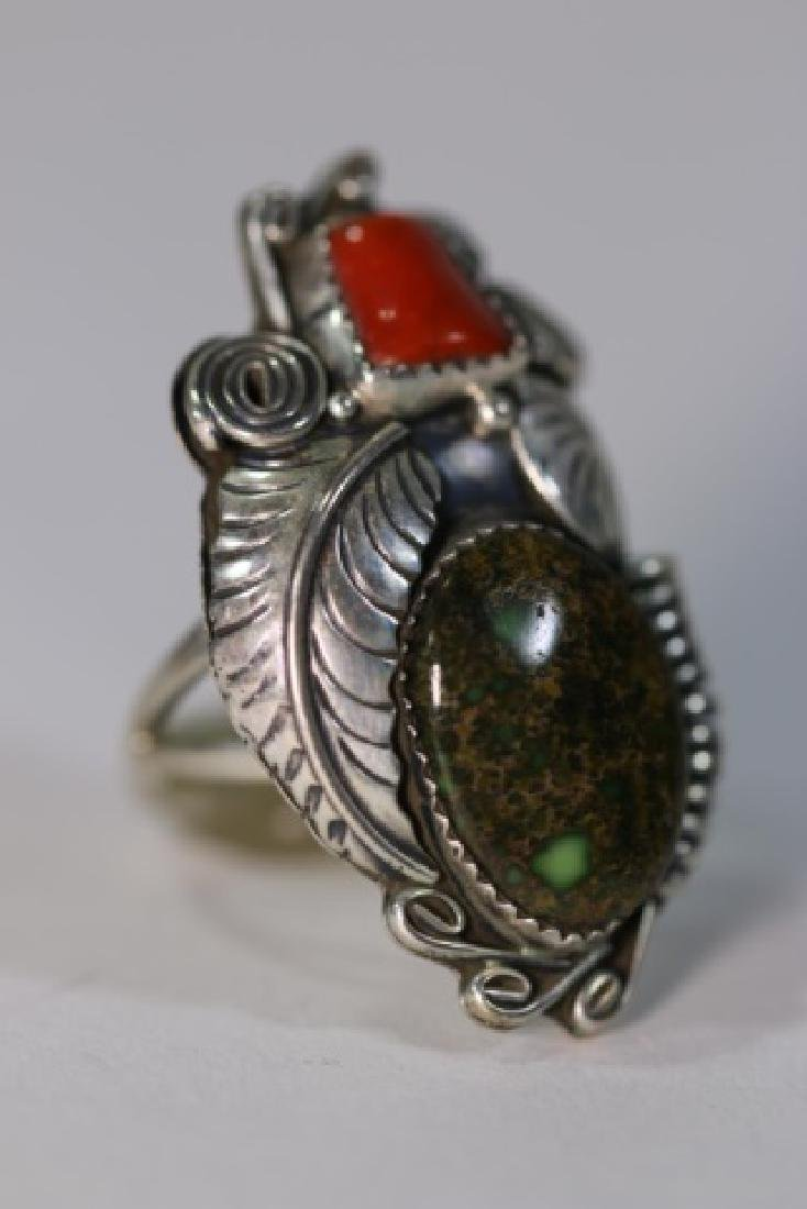 NATIVE AMERICAN STERLING AZURITE & CORAL RING - 3