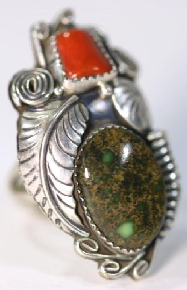 NATIVE AMERICAN STERLING AZURITE & CORAL RING - 4