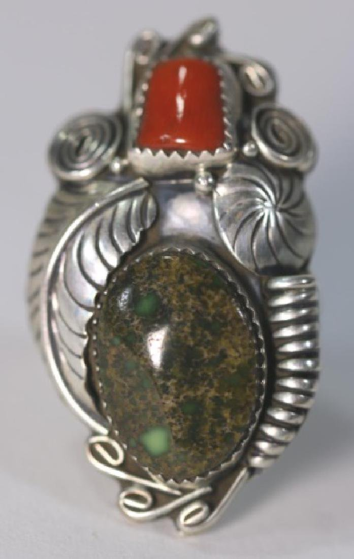 NATIVE AMERICAN STERLING AZURITE & CORAL RING - 7
