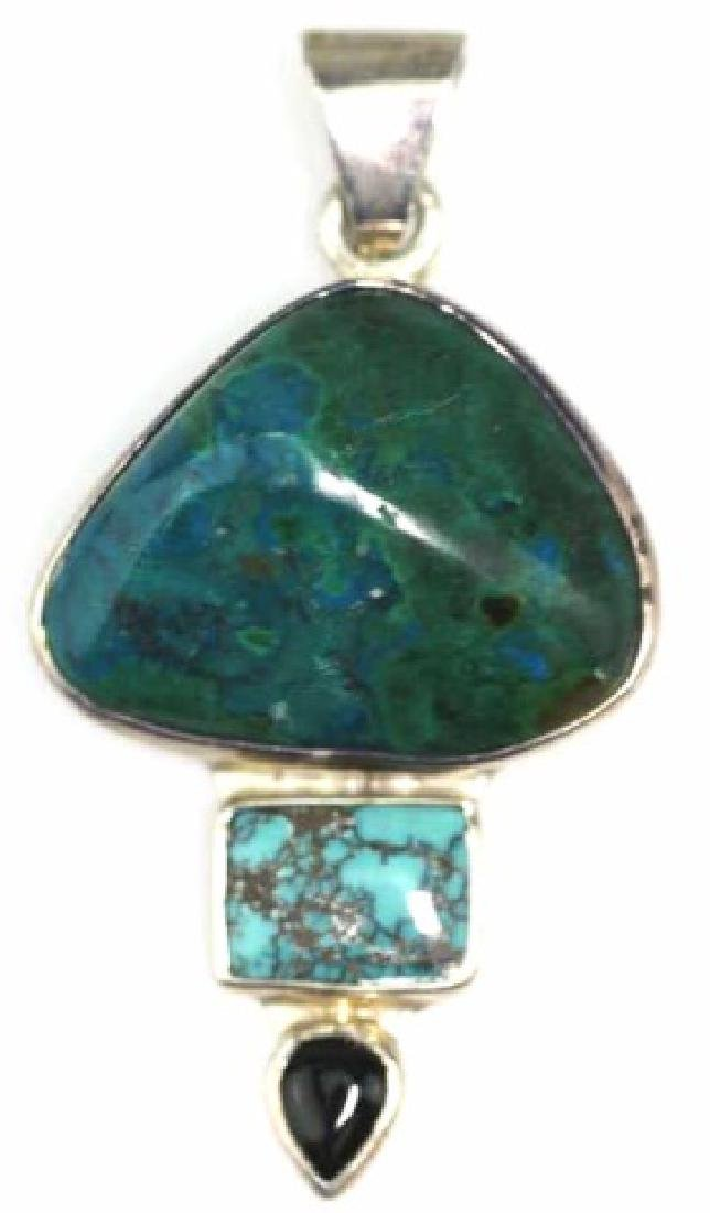 CHARLES ALBERT STERLING SILVER & TURQUOISE PENDANT