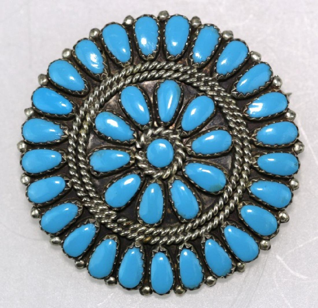 STERLING SILVER TURQUOISE PETITE POINT BROOCH