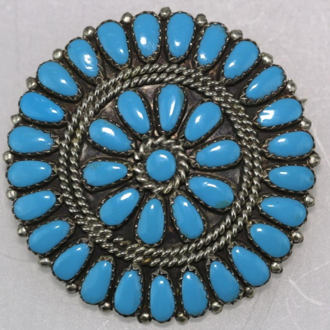 STERLING SILVER TURQUOISE PETITE POINT BROOCH - 2
