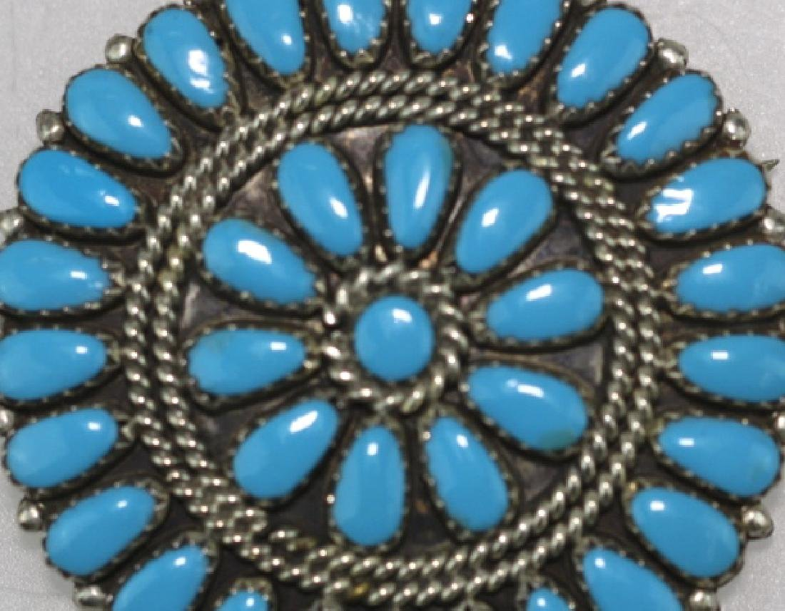 STERLING SILVER TURQUOISE PETITE POINT BROOCH - 7